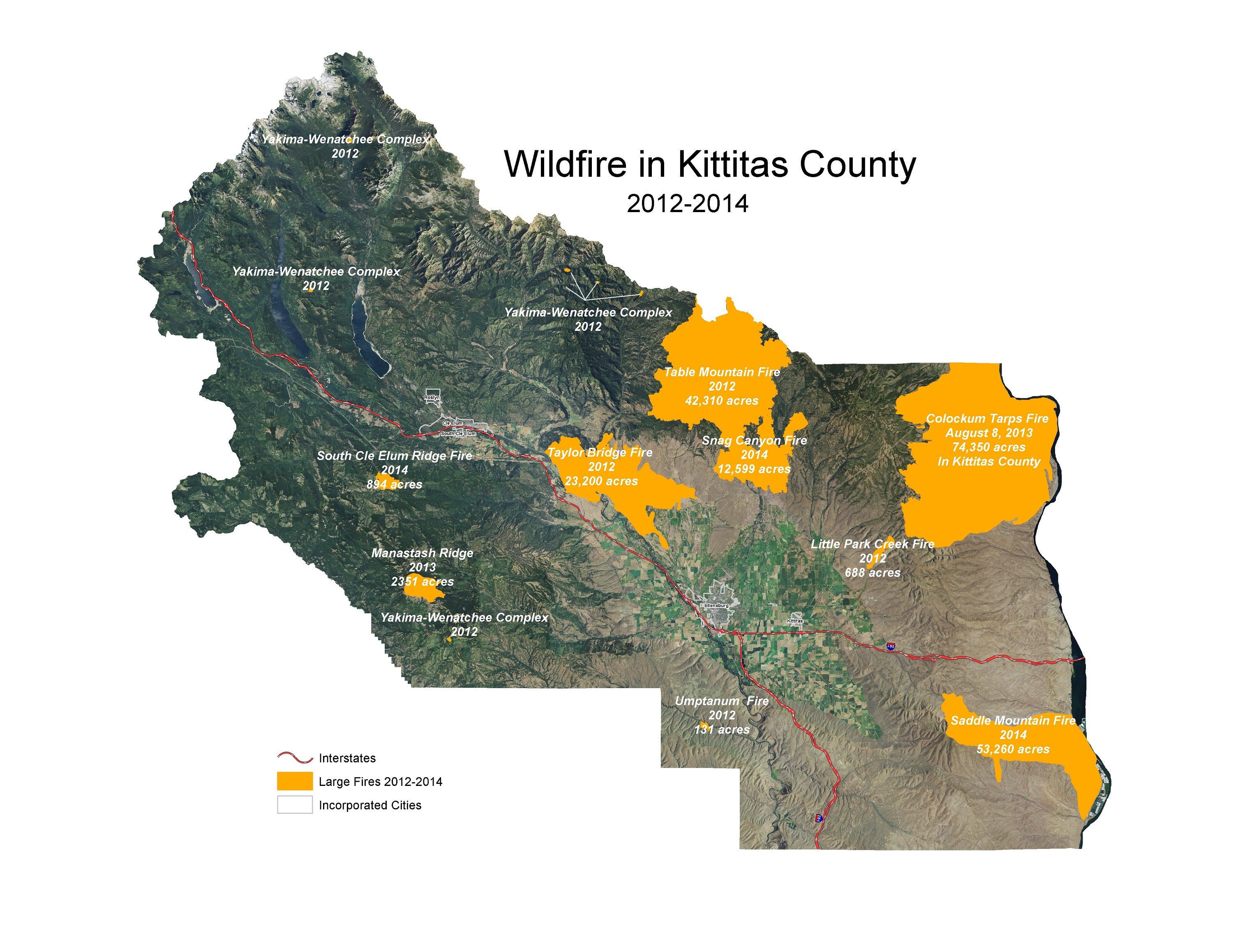 Large Wildfire Map.Wildfire Assistance Programs At The County Level Kittitas County